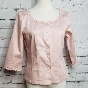 Randy Kemper Pink Ruffle Blazer Jacket Size 4